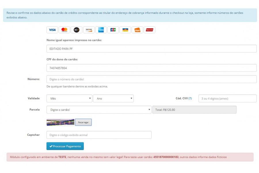 Módulo de Pagamento Yapay Intermediador API Transparente para Opencart
