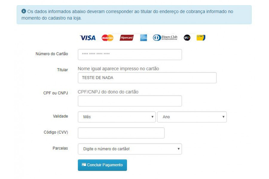 Módulo de Pagamento Transparente MercadoPago API Opencart