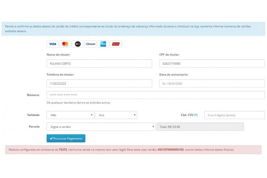 Módulo Pagamento GerênciaNET API Pro Cartão Boleto Pix para Opencart
