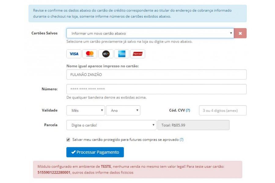 Módulo de Pagamento Getnet API PRO Cartão e Boleto para Opencart