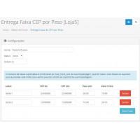 Módulo de Entrega por Faixa de CEP baseado no Peso para Opencart