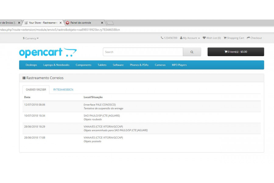 Gestor de Envios e Rastreamento Automatico Correios para Opencart