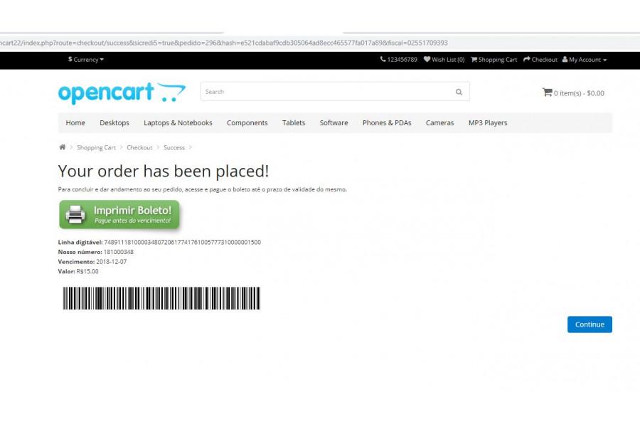 Módulo de Pagamento Boleto Caixa API com Registro para Opencart