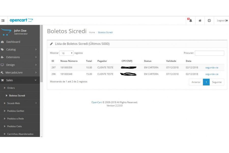 Módulo de Pagamento Boleto Sicredi API com Registro para Opencart