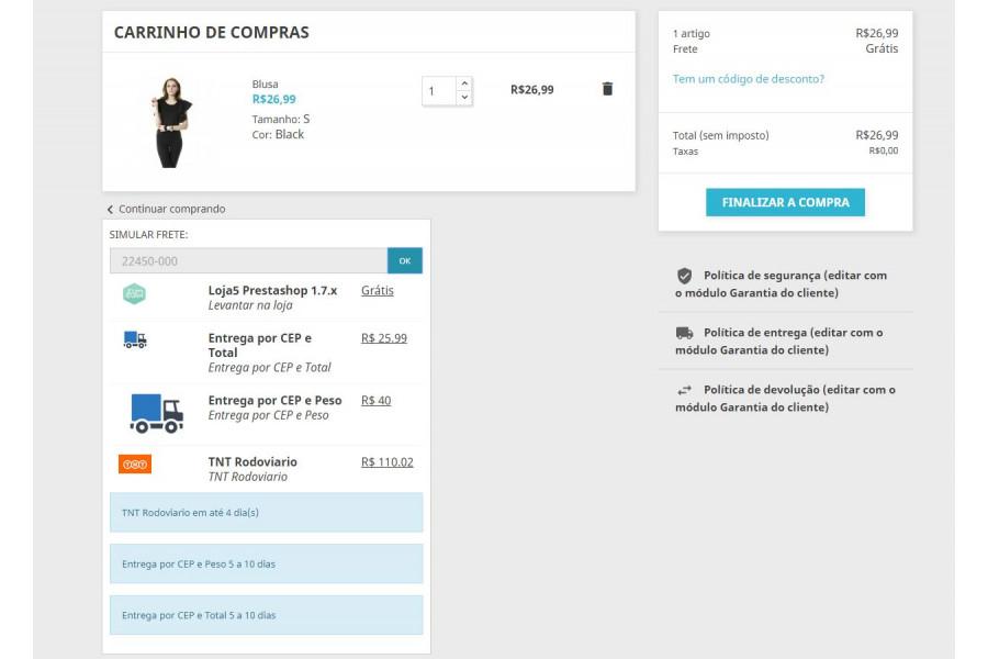 Simulador de Frete na Página do Produto Prestashop [Download Imediato]