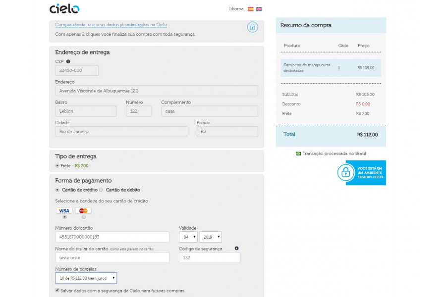 Módulo de Pagamento Checkout Cielo Integrado Prestashop