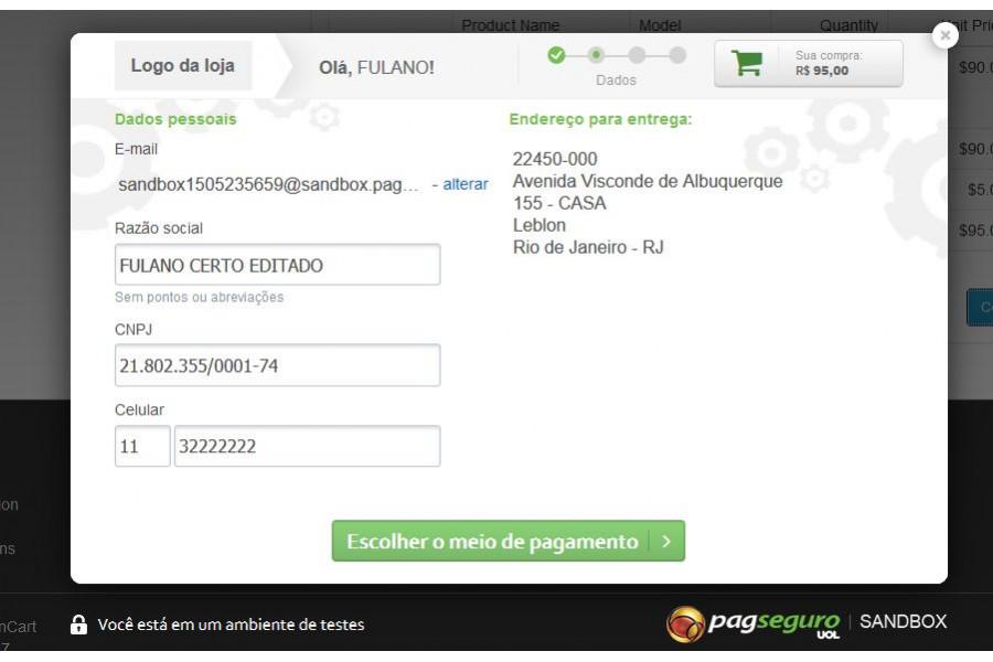 Módulo de Pagamento PagSeguro Lightbox Opencart