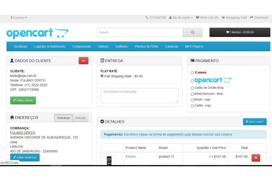 Módulo Checkout Compra e Registro Rápido PRO para Opencart