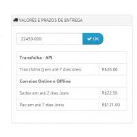 Simulador de Frete na Página do Produto Opencart