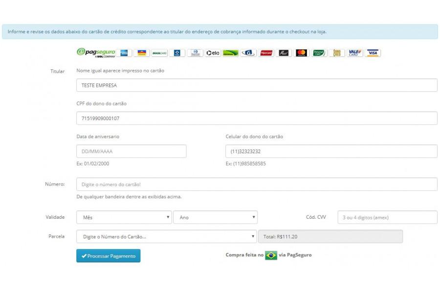 Módulo de Pagamento PagSeguro API Transparente Opencart