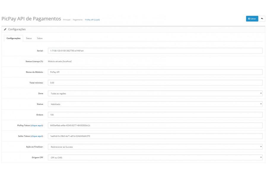 Módulo de Pagamento PicPay API para Opencart