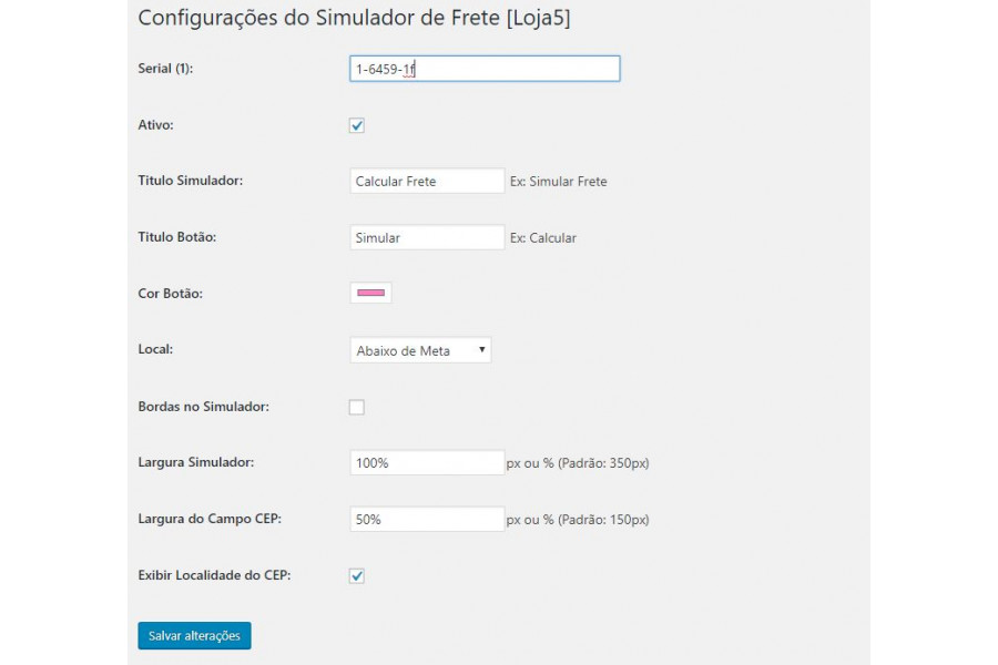 Simulador de Frete na Página do Produto Woocommerce
