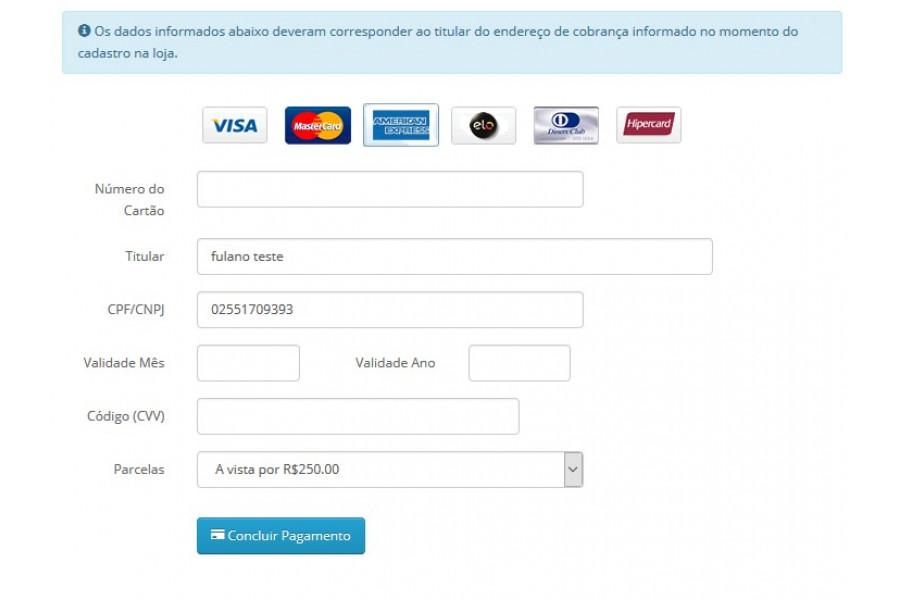 Módulo de Pagamento PayU API Transparente para Opencart