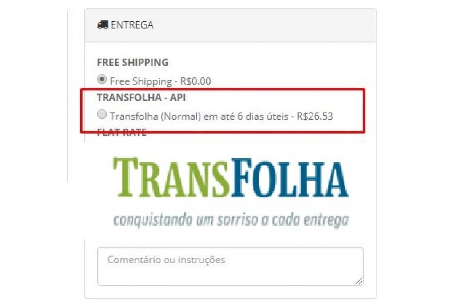 Módulo Transportadora Transfolha API  para Lojas Opencart