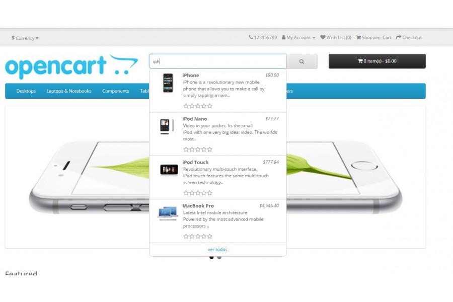 Módulo de Auto Buscas e Busca ao Vivo para Opencart