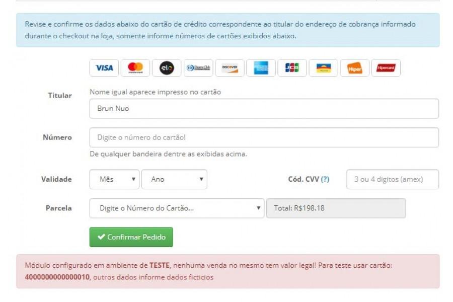 Módulo de Pagamento Mundipagg API Gateway Transparente para Opencart