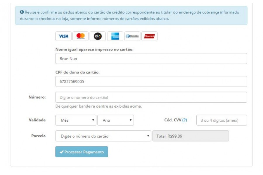 Módulo de Pagamento PagarMe PRO Transparente Opencart