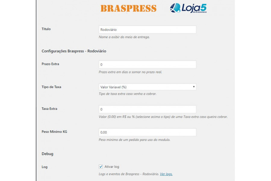 Plugin de Integração Transportadora Braspress API Woocommerce
