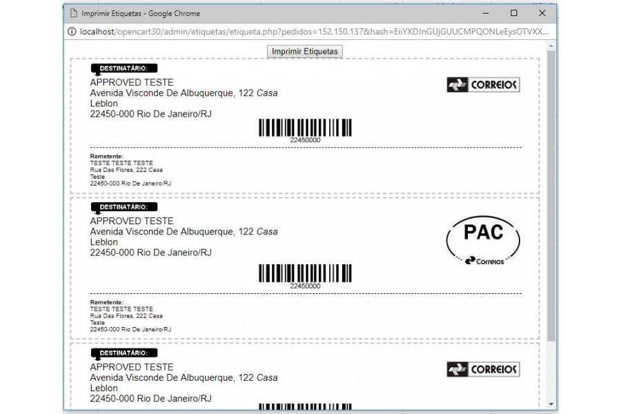 Módulo Imprimir Etiquetas de Envio Correios Opencart