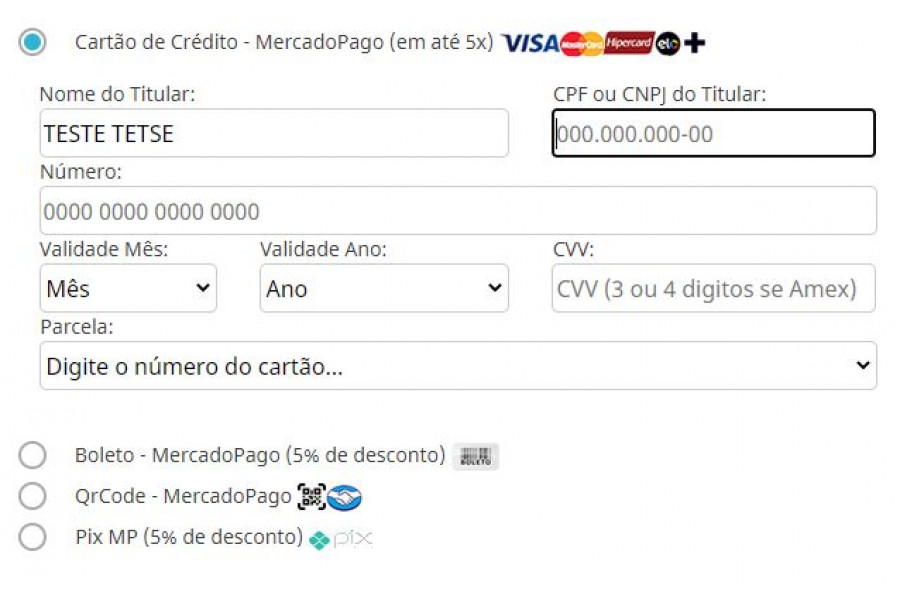 Módulo de Pagamento MercadoPago API Cartão Boleto Pix para Prestashop