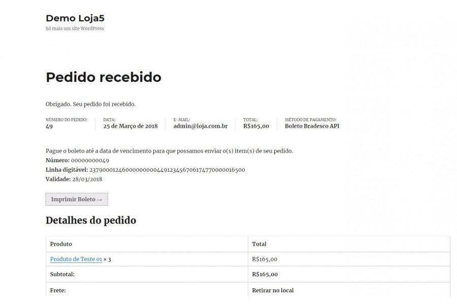 Plugin de Boleto Registrado Bradesco API para Woocommerce [Download Imediato]