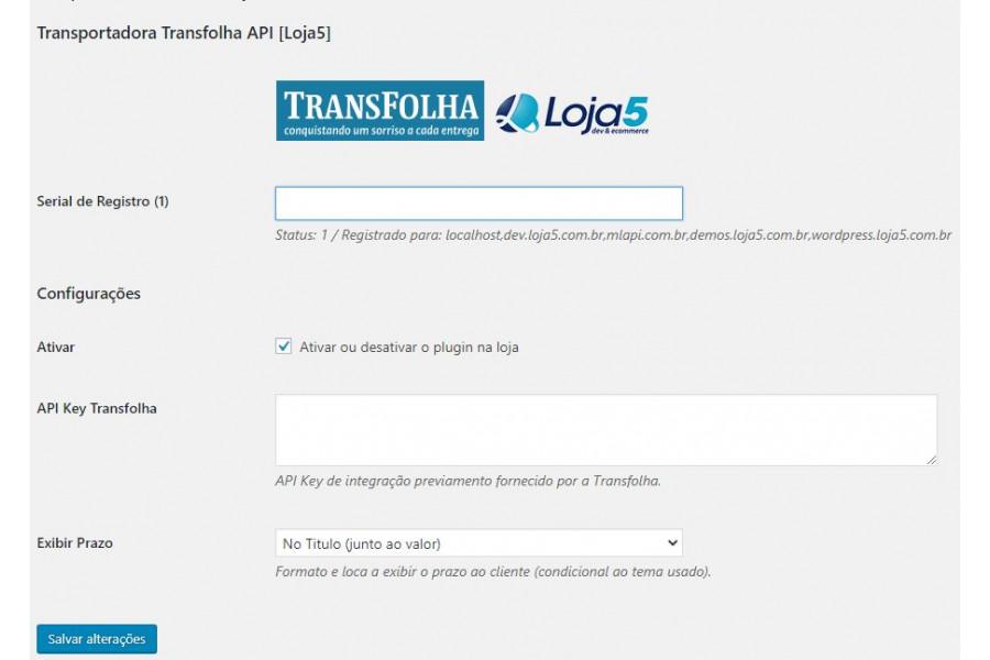 Plugin de Integração Transportadora Transfolha API para Woocommerce