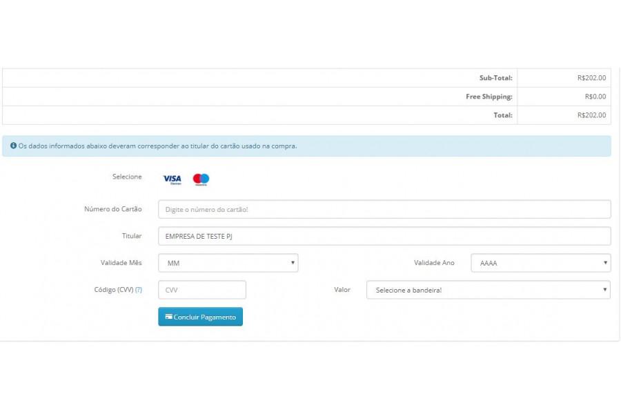 Módulo de Pagamento e.Rede REST API Cartão para Opencart [Download Imediato]