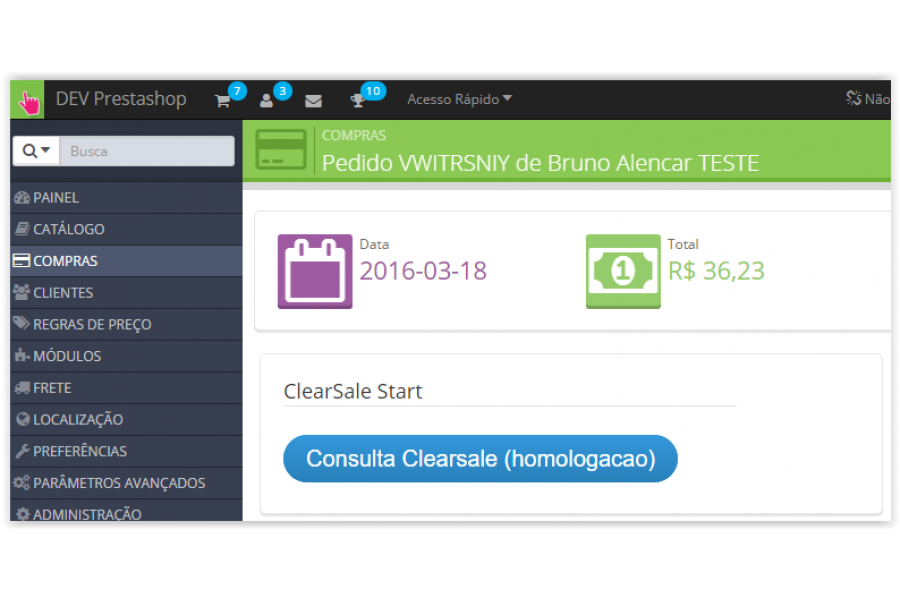 Módulo de Integração Anti-fraude Clearsale Start Prestashop [Download Imediato]