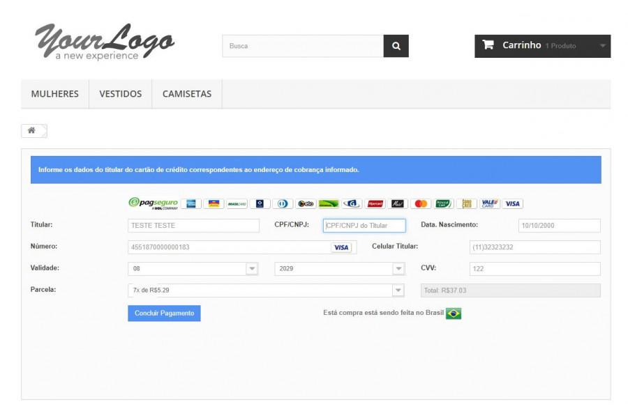 Módulo de Pagamento PagSeguro Transparente Prestashop