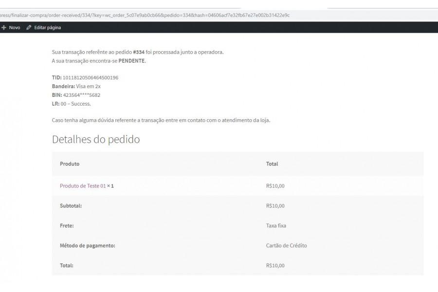 Plugin de Pagamento e.Rede API REST Cartão de Crédito e Débito para Woocommerce