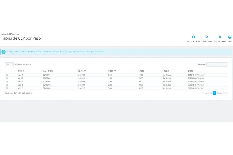 Módulo de Entrega por Faixas de CEP e Peso para Prestashop [Download Imediato]