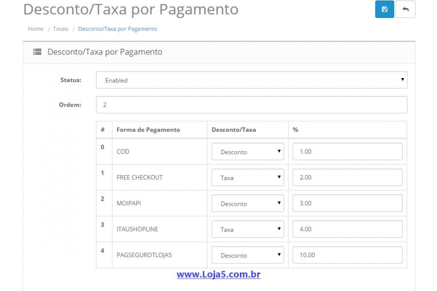 Módulo de Descontos e Taxas por Forma de Pagamento Opencart